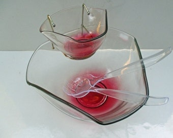 Indiana Glass Ruby Red Glass Salad Chip and Dip Serving Bowl with Brass Dip Bowl Holder (5 pieces plus original box) - Shipping Included