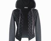 SALE, Black jacket, Hoodie jacket, Star print jumper, Cotton jacket, Polka dots, Light jacket, sweatshirt hoodie, women's hoodie