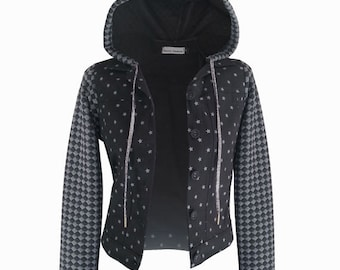 SALE, Black jacket, Hoodie jacket, Star print jumper, Cotton jacket, Polka dots, Light jacket, sweatshirt hoodie, women's hoodie