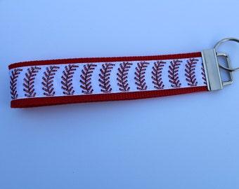 Baseball ribbon keychain.  Baseball stripped ribbon. Key fob, key keeper, keychain wristlet, 7 inch long sewn ribbon key fob.