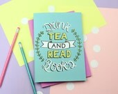 Tea and Books Notebook. Notepad. Bookish Gifts. Book Lover. Literary Gifts. Literary Quote. Tea Lover. Tea Gifts. Book Gifts. Book Quote.