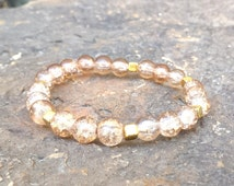 HANDMADE Women's 8mm Amber Crackle Neutral Glass w/ Gold Cube Spacer Bead Stretch Stacking Layering Bling Arm Candy Wholesale Bracelet Chic