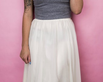 Vintage 90s Ivory Chiffon Flowing Midi Skirt Size 12, M