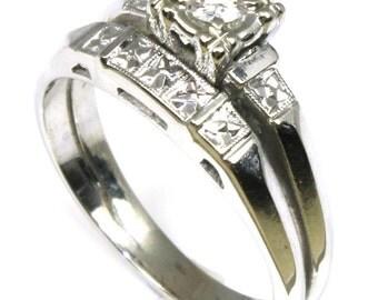 50's Diamond Wedding Ring Set