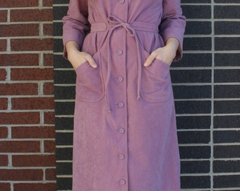 Vintage 1970s Henry Lee Lavender Button Down Dress with Tie Belt