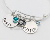 Kids Names Charm Bangle Bracelet Sterling Silver Birthstones Heart Handstamped Engraved Custom Writing Mom Gift Grandma Couple Adjustable
