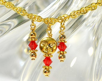 """Moon Charm on Gold Chain Anklet, 9.25"""" inch Red Gold Ankle Bracelet"""