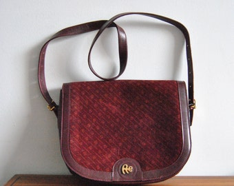 Vintage Emilio Albertario Leather Shoulder Bag in Burgundy Red Suede
