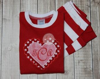 Valentines Pajamas   Personalized Heart Valentineu0027s Pjs   Family Pajamas    Red/White Striped Pajamas