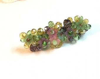 Floral hair barrette, french barrette, flower barrette, purple and green crystal hair clip, Hair Accessories, hair clips, french clip bridal