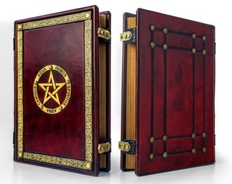 """Book of Shadows - Leather Journal, 9"""" x 12"""", BoS, magician book, grimoire, spell book, gift box, reddish leather"""