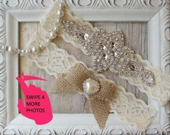 BEST SELLER Rustic Wedding, Garter Set - Burlap Wedding Garter Set, Rustic Garter Set, Lace Bridal Garter, Burlap Garter Set, Rustic Wedding