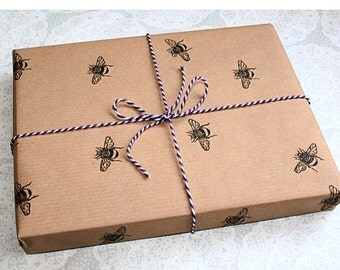 Bumble bee wrapping paper | Gift wrap | Insect prints | Brown paper | Birthdays | Handmade | Lino print | Honey bee |