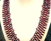 Red Bead Weaving Necklace - Bead Weaving Jewelry - Wedding Jewelry for Brides - Bead Necklace Jewelry - Bridesmaid Jewelry
