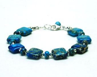 Ocean Blue Jasper and Sterling Silver Bracelet - Blue Gemstone Bracelet - Optional Earrings