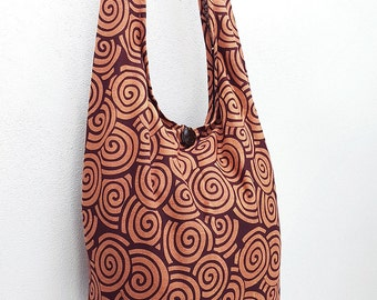 Women bag Handbags Cotton bag Hippie bag Hobo bag Boho bag Shoulder bag Sling bag Messenger bag Tote bag Crossbody bag Purse Swirl Red Brown