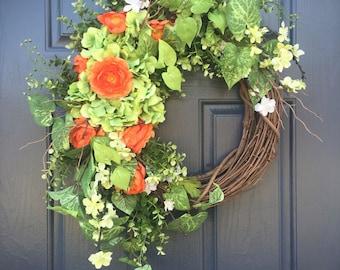 Hydrangea Wreaths, Spring Hydrangea Wreath, Green, Orange, Spring Door Decor, Spring Trends, Boxwood, Green Wreaths, Pretty Wreaths