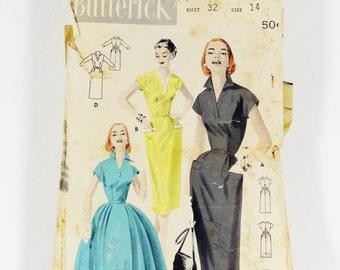 Butterick 7750 - Tailored Dress Slim or Full Skirt -Vintage 1950s Pattern - Size 14