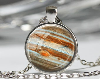 Jupiter Planet Necklace, Space Astronomy Pendant, Outer space Jupiter Jewelry [A91]