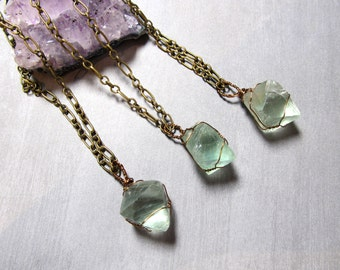 Fluorite Crystal Necklace Wire Wrapped Octahedron Pendant Rustic Bronze Wire Wrapping