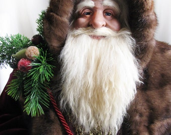 "Extra Large Father Christmas Santa Claus Doll (37""): Burgundy Santa Real Brown Mink Fur 3 ft (One of a Kind Handmade Old World Santa Claus)"