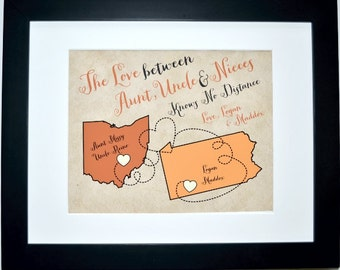 Long distance aunt, family auntie uncle gifts, housewarming gift, custom map art print , the love between aunt uncle niece, family map
