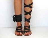 "Leather Sandals, handmade, Unique design, with plisse scarf straps in black ""APHRODITE"" AS14"