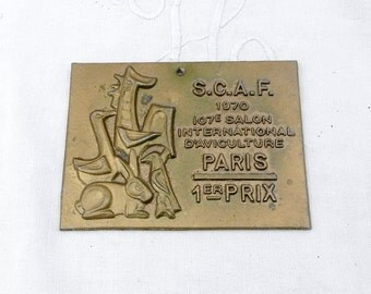 Vintage French Metal Plaque from the Paris Competition for Poultry Breeding 1st Prize, Wall Hanging, Retro Sign, Chicken Variety, Farmyard