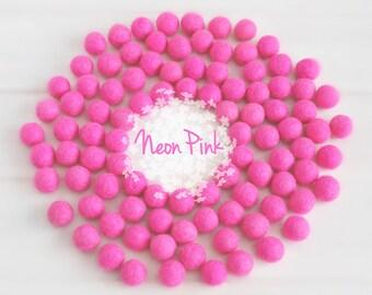 Wool Felt Balls - Size, Approx. 2CM - (18 - 20mm) - 25 Felt Balls Pack - Color Neon Pink-4020 - 2CM Wool Felt Balls - Bright Pink Felt Balls