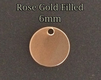 10pcs Rose Gold Filled tiny stamping blank round disc tag 6mm 21ga - rose gold round disc stamping Blanks - Personalized Jewelry gold fill