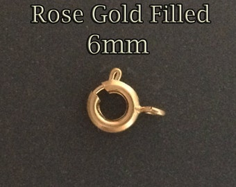 10pcs - Rose Gold filled spring ring clasps 6mm - rose gold clasps spring ring open ring - supply jewelry clasps closure rose goldfill