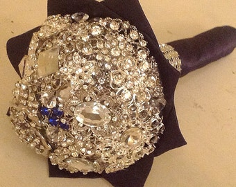 Brooch Bouquet | Rhinestone Glam Bouquet | Small Bridal Bouquet | Communion Bouquet | Bridsmaid Bouquet