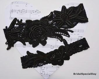Black Lace Garter Wedding Set Bridal Flower
