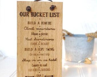 Oak Bucket List Sign - Bucket List - Boyfriend Gift - Travel Gift - Our Adventure - Wooden Sign - Gift For Boyfriend - Girlfriend Friend