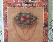 "Creative Beginnings ""A Posy of Rosies"" Silk Ribbon Embroidery Kit 2 1/4"" Oval Pin"