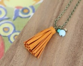 genuine leather small tassel - pumpkin - necklace 30 inches - czech glass beads