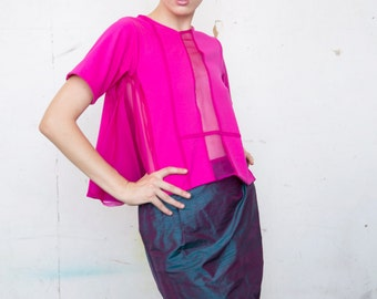 Fuchsia Sheer Panel Tee Shirt Pleated Side Panels Cotton and Silk