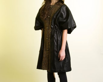 Hooded Cape Jacket with Italian Gold Silk Tweed and Black Waxed Cotton Canvas Fabric