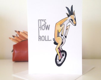 Gazelle Riding a Unicycle - Blank Greeting Card
