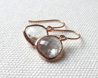 Rose Gold Clear Earrings Crystal Clear Dainty Dangle Earrings Minimalist Modern Bridesmaid Earrings Gift