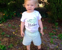 Baby boy clothes, alligator boy outfit, personalized toddler boy clothes, lime green seersucker shorts, monogram boy shirt, baby boy gift