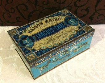 French Biscuit Tin, Cat Lover Gift, Cats Kittens Play, 1910s 1920s, Langes de Chat, Maison Mathe, Blue Box, Antique Tin Box, PATINA