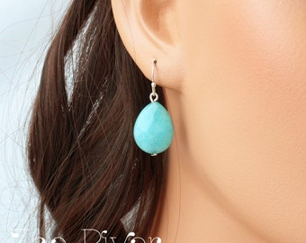 Turquoise drop earrings, choose silver, gold or rose gold. Turquoise, sterling silver earrings.