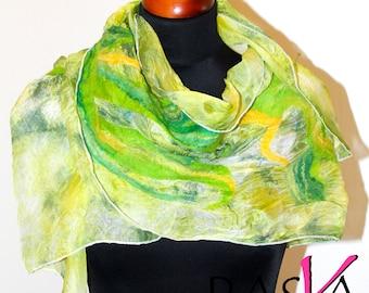 SALE !!! Handmade Merino Wool Felted Silk Green Shawl Scarf Wearable Art