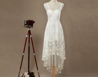 Lace Bridesmaid dress, V neck Lace Wedding dress, High-Low Bridesmaid dress, Lace Party dress, Prom dress