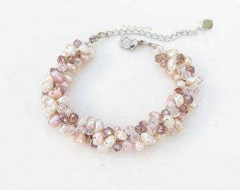White pink freshwater pearl bracelet on silk thread, beaded bracelet, wedding jewelry, bridesmaid bracelet, light purple