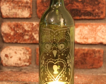 Heart Owl Wine Bottle Lantern Kit (Stand & Candle Included)