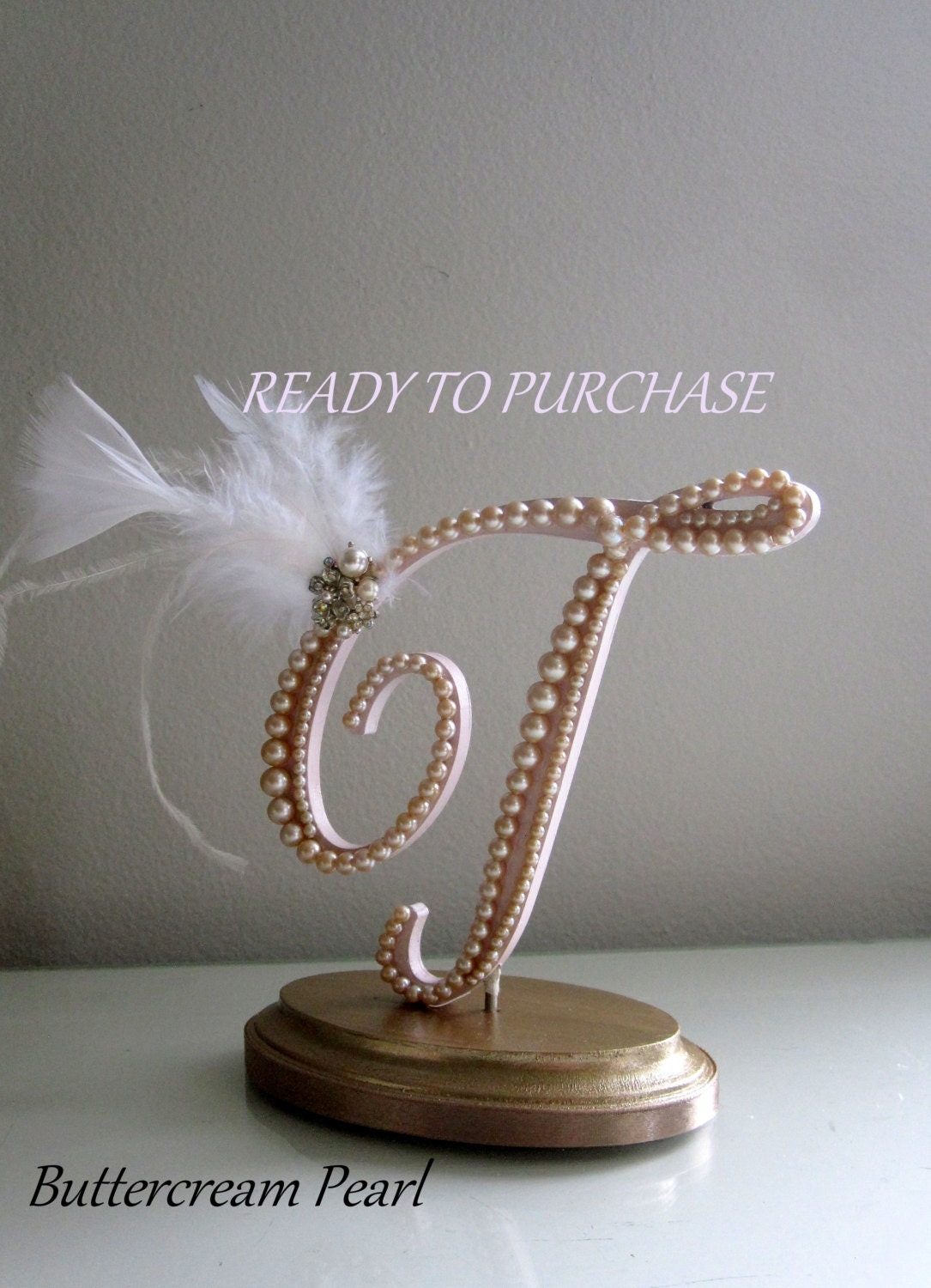 Pearl T Cake Topper Feather Cake Topper Rustic Chic Topper