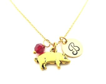 Pig Necklace - Gold Initial Necklace - Birthstone Necklace - Gold Initial Disc Necklace - Personalized Necklace - Pig Charm - Gift for Her