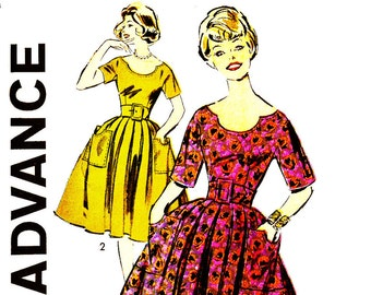 Vintage Sewing Pattern Advance 9145 Vintage 1960s CHARMING Horseshoe Neckline and Pocket Dress Sewing Pattern Sz 13